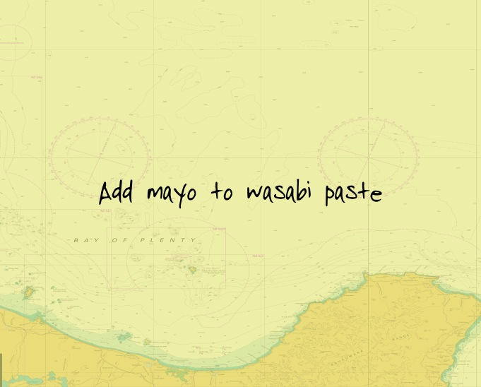 Add mayo to wasabi paste. Taste test to your liking